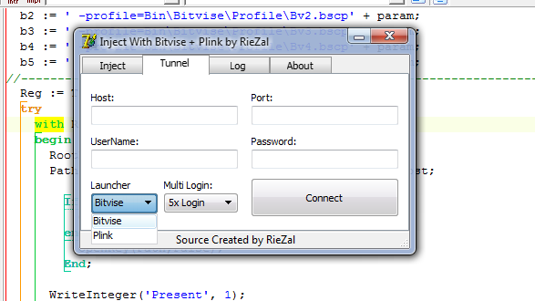 (Source) Inject With Tunnel Bitvise + Plink 5x Login