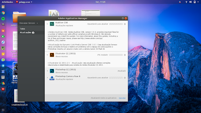 Atualização de programas da Adobe