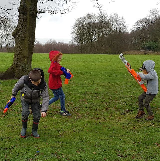 3 young Boys having a Nerfwar with Rukkus ICS-8 Nerf N-Strike Elite