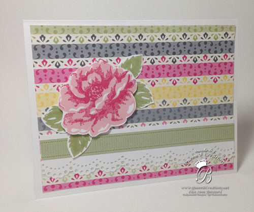 Stampin' Up! Stippled Blossoms with DSP handmade card by Lisa Ann Bernard of Queen B Creations