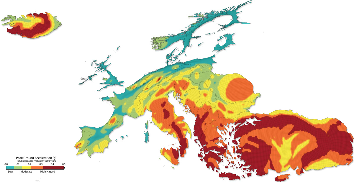 The spatial variation of seismic hazard in Europe (Cartogram