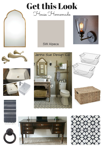 Farmhouse half bath inspiration and resource list