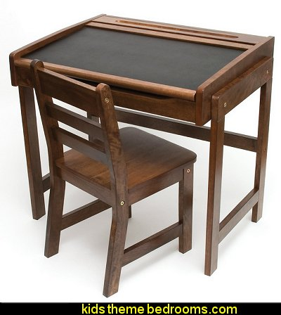 Child's Desk with Chalkboard Top and Chair Set, Walnut