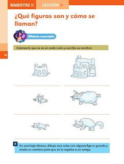 Apoyo Primaria Español 1er grado Bimestre 2 lección 9 ¿Qué figuras son y cómo se llaman?