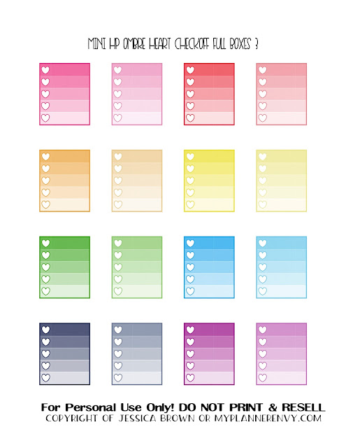 Free Printable Ombre Heart Checkoff Full Boxes 3 of 3 for the Mini Happy Planner from myplannerenvy.com