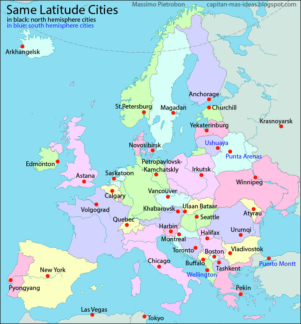 Latitude Map Of Europe.European Capitals Replaced With The Names Of Cities At The Same
