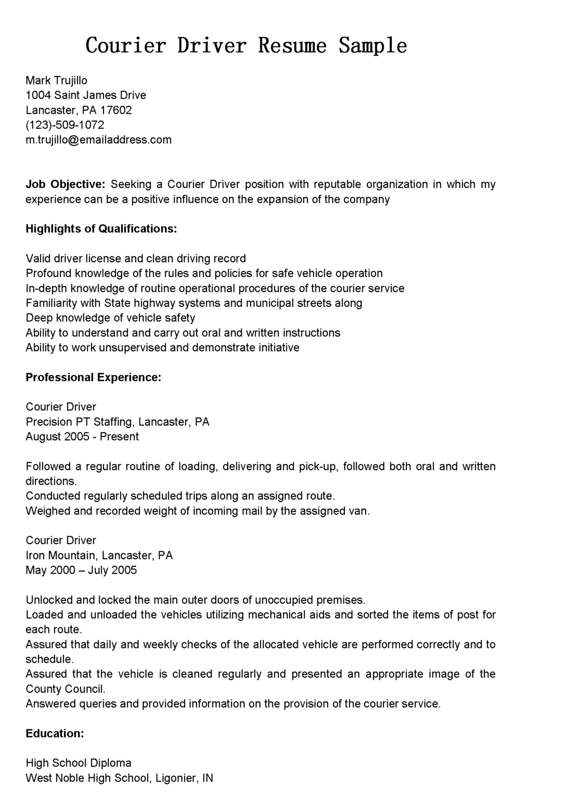 Sample Resume Objectives For Forklift Operator Driver Resumes Courier Driver Resume Sample