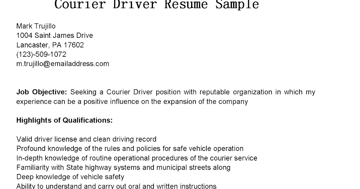 Courier Driver Resumes Driver Resume Example Unity Courier