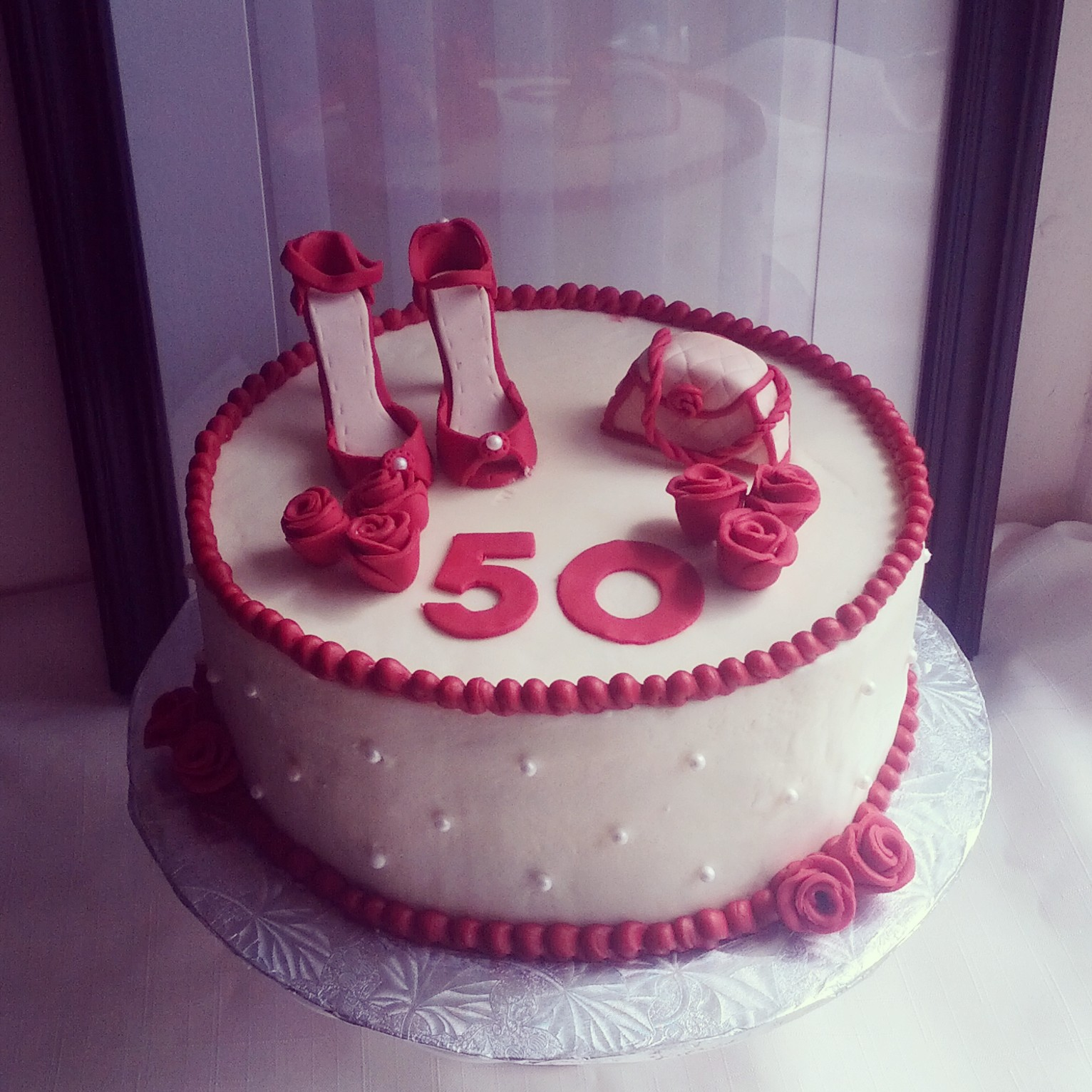 Red Shoes Purse 50th Birthday Cake
