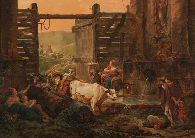 Hubert Robert : Le retour du troupeau (détail) - MET