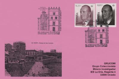 Tarjeta del matasellos de las XII Jornadas filatélicas en Gijón. Capilla de San Lorenzo