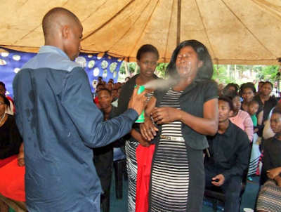 Photos: Congregants experiencing health issues after being sprayed with insecticide by South African prophet