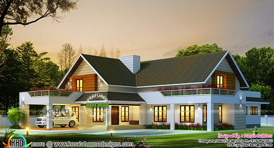Sloping roof bungalow architecture rendering