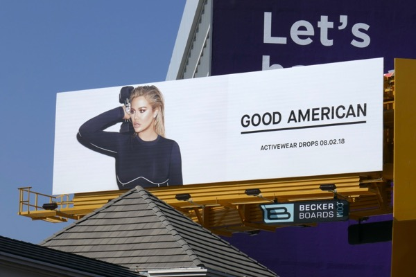 Khloe Kardashian Good American activewear billboard