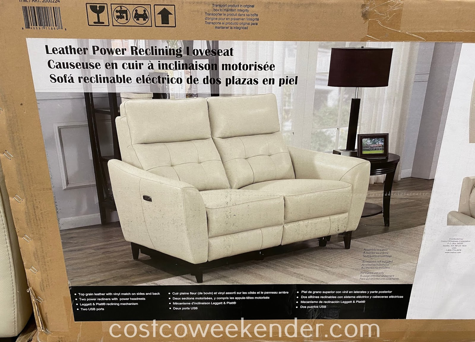 Costco 2000224 - Leather Power Reclining Loveseat reclines for more comfort