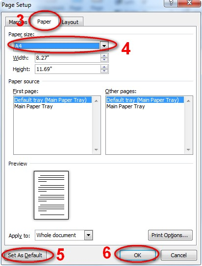 How to change default page size from letter to A4 in Microsoft