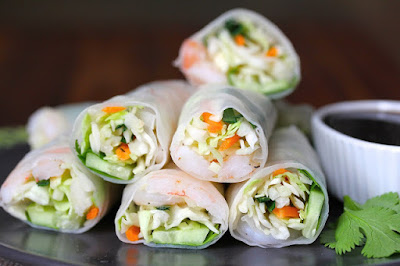 Featured Recipe | Shrimp and Veggie Summer Rolls from Karen's Kitchen Stories #SecretRecipeClub #recipe #appetizer #summerrolls #shrimp