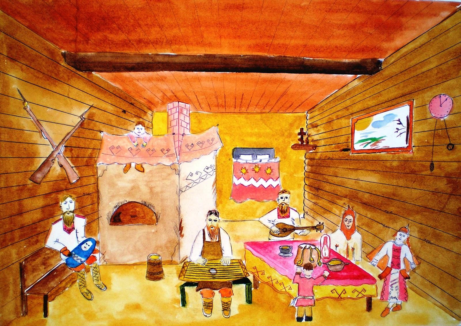 древнерусский дом внутри рисунок нашем интернет-магазине