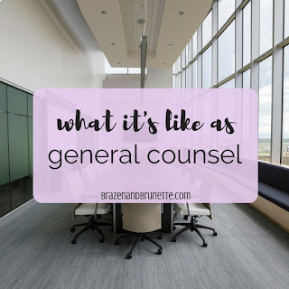 What it's like working as general counsel for a company, what is the difference between general counsel and in-house counsel, the pros of general counsel, and the cons of general counsel. the life of an in-house attorney. working as an in-house corporate attorney. law school externship. law school blog. law student blogger | brazenandbrunette.com