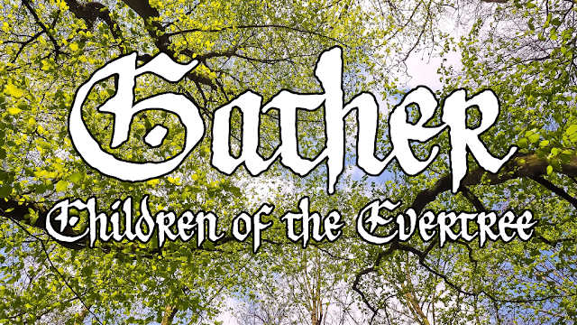 "The words ""Gather: Children of the Evertree"" in white over an image of yellow-green leaves on dark brown trees, looking up through them into the blue sky."