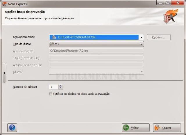 Nero - Configurações de gravação