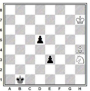 Estudio artístico de ajedrez compuesto por A. Cheron (Journal de Geneve, 1964)