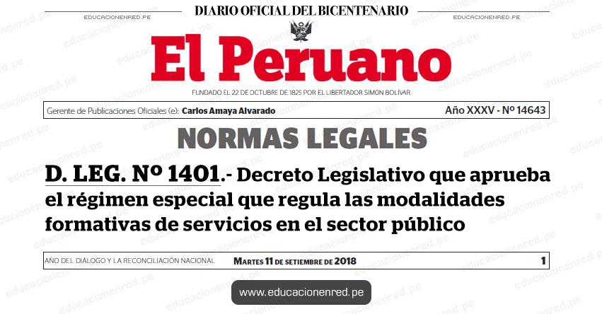 D. LEG. Nº 1401 - Decreto Legislativo que aprueba el régimen especial que regula las modalidades formativas de servicios en el sector público