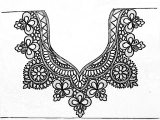 How to draw an easy blouse necks design for hand embroidery