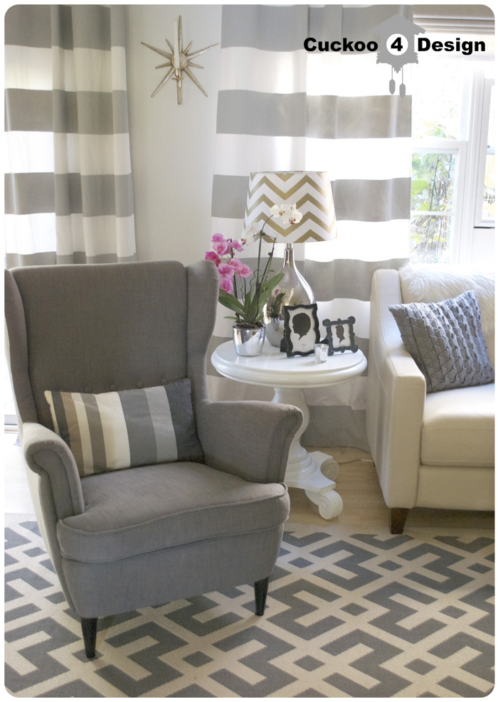 Delightful Ikea Strandmon Chair, Grey Horizontal Striped Curtains, Overstock  Indoor/outdoor Area Rug