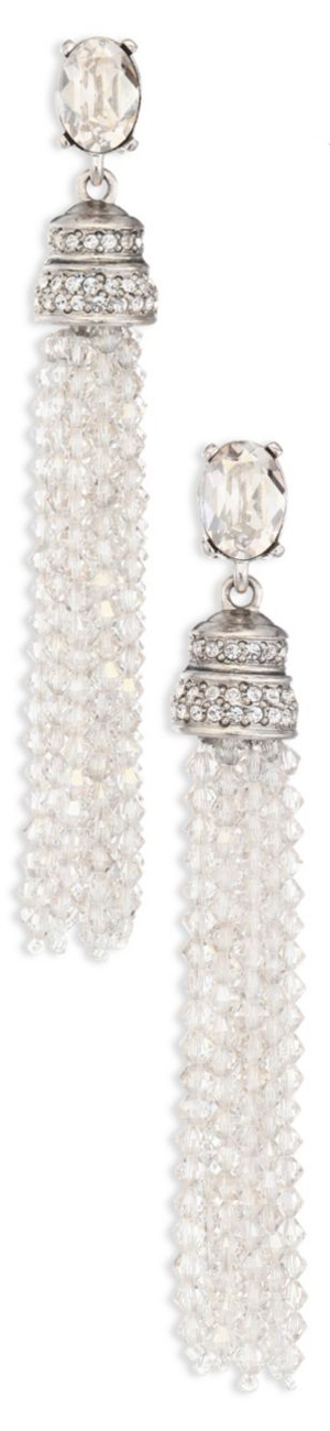 Oscar de la Renta Crystal Tassel Clip-On Earrings