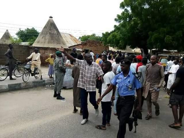 Tricycle operators in Borno protest alleged extortion and illegal detention by police (photos)
