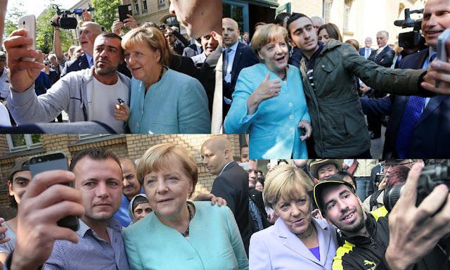 Merkel migrant selfies