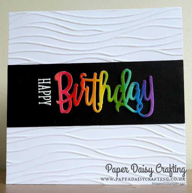 Rainbow card with Happy Birthday thinlits die from Stampin Up