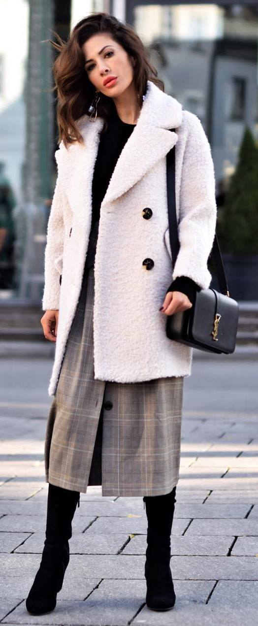 what to wear with a plaid skirt : bag + white coat + boots + top