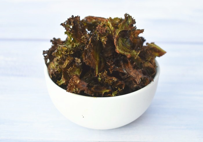 Crispy Kale Chips in white bowl