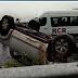 Cinco pessoas ficam feridas após carro capotar na CE-085, em Caucaia