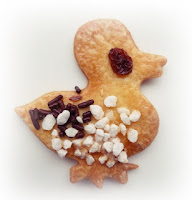sugary duck shaped cookie made from pasty scraps