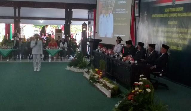 Bupati Lumajang Thoriqul Haq, M.ML saat menyampaikan pidato