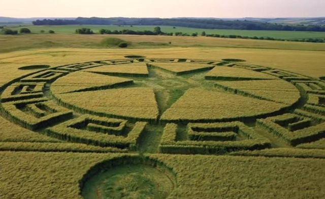 Crop Circle Dorset Uk Resembles A Scene From The Movie The Arrival