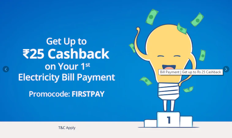 Paytm 1st Electricity Bill Payment Offer: Get Rs.25 Cashback Promo Codes