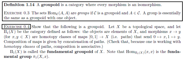 In mathematics, especially in category theory and homotopy theory, a groupoid (less often Brandt groupoid or virtual group) generalises the notion of group in several equivalent ways. A groupoid can be seen as a:      Group with a partial function replacing the binary operation;     Category in which every morphism is invertible. A category of this sort can be viewed as augmented with a unary operation, called inverse by analogy with group theory.[1] Notice that a groupoid where there is only one object is a usual group.  Special cases include:      Setoids, that is: sets that come with an equivalence relation;     G-sets, sets equipped with an action of a group G.  Groupoids are often used to reason about geometrical objects such as manifolds. Heinrich Brandt (1927) introduced groupoids implicitly via Brandt