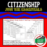 Citizenship Outline Notes, Civics Test Prep, Civics Test Review,Civics Study Guide, Civics Summer School Outline, Civics Unit Reviews, Civics Interactive Notebook Inserts