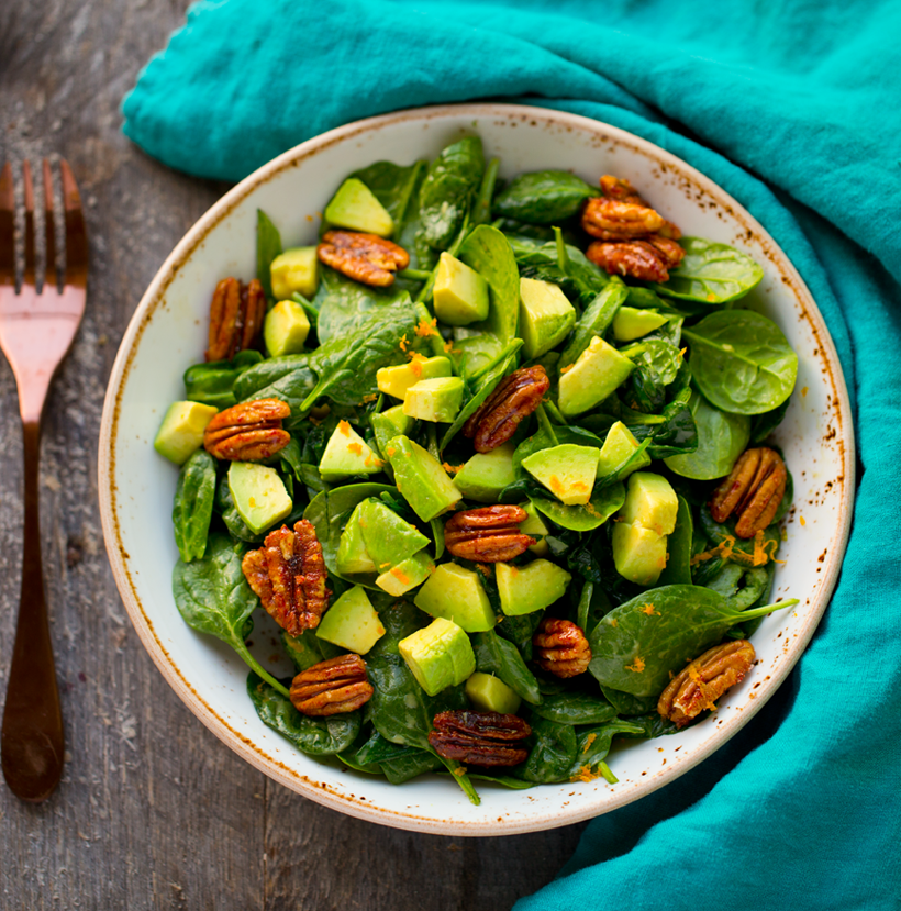 Candied Pecan Avocado Spinach Salad