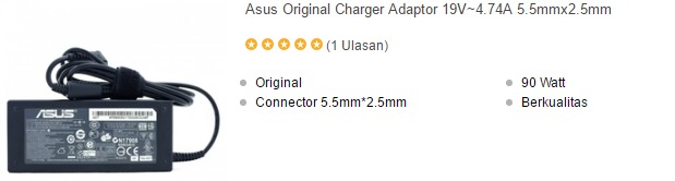harga charger laptop asus a43s series original