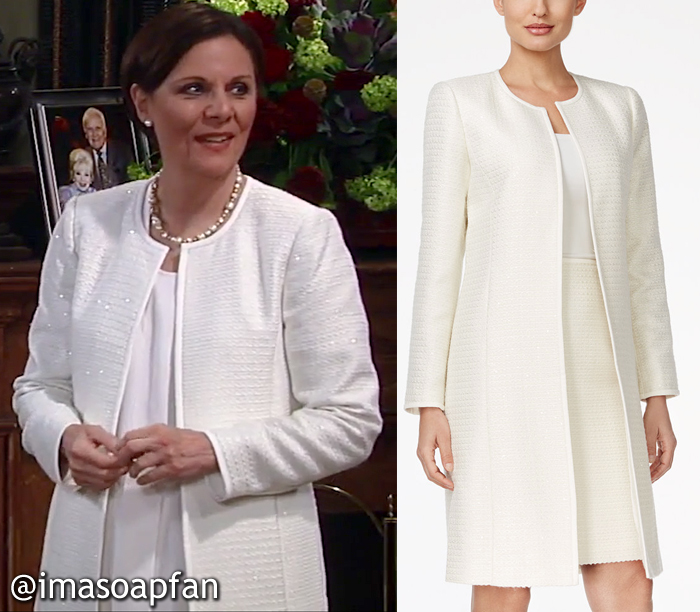 Tracy Quartermaine, Jane Elliot, Sequined Off-White Tweed Duster Jacket, Calvin Klein, GH, General Hospital, Season 55
