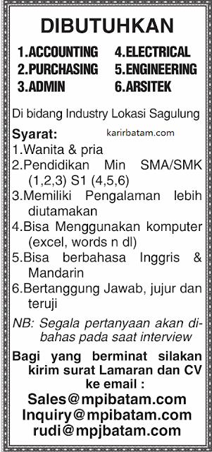 Lowongan Kerja PT. MPI Batam Indonesia