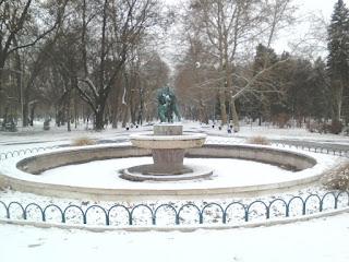 Yambol, Snow Covered, Fountain, Yambol City Park