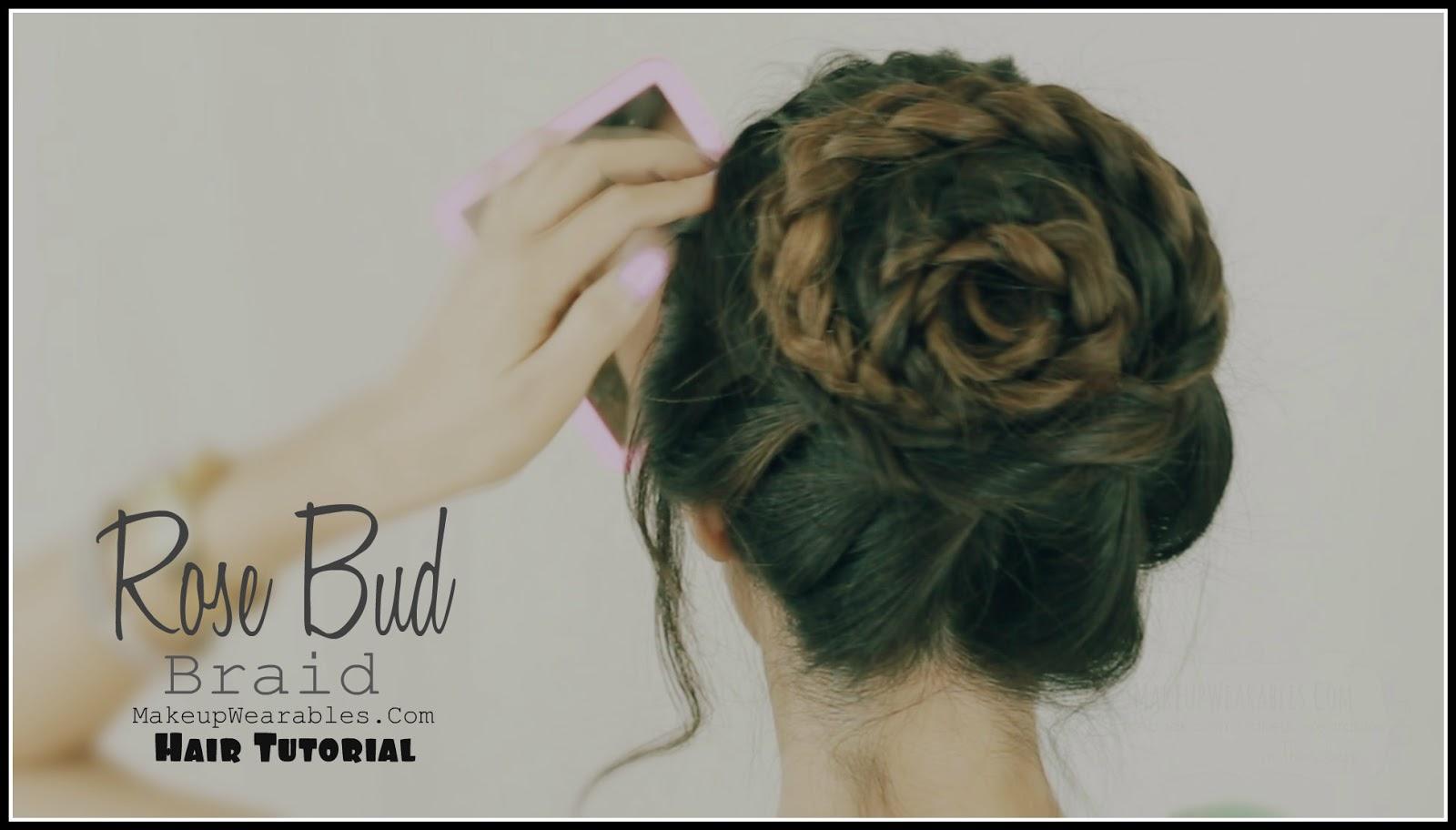 Rose Bud Flower Braid Bun Cute Updo Hairstyles Hair Tutorial Video