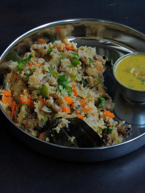 Protein Masala Upma, Masala Upma with Black eyed peas
