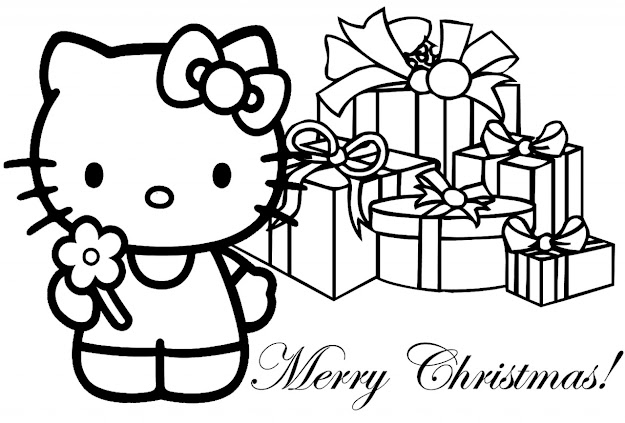 Free Printable Coloring Pages Kitty  Hello Kitty Christmas Coloring Page